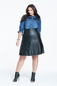 2c67941db112c MYNT 1792 PLUS SIZE FAUX LEATHER SKATER SKIRT SIZE 22 24 ... Leather Skater
