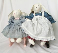 Vintage Bunny Dolls Mother and Baby Stuffed Rabbit by pinkpainter