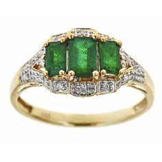 D'yach 14k Yellow Gold Zambian Emeralds and Diamond Accent Ring | Overstock™ Shopping - Top Rated D'Yach Gemstone Rings