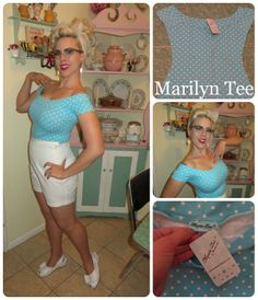 The Rockabilly Socialite: Rockabilly and Vintage Lifestyle - Dollie reviews the 'Marilyn Tee' in Aqua Dot! #HeartofHaute #Pinup #PinupBlog #RetroBlog #DollieDeVille #TheRockabillySocialite