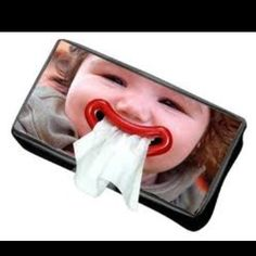 Can't decide if it is cute or creepy to have your kids face personalized on a tissue box