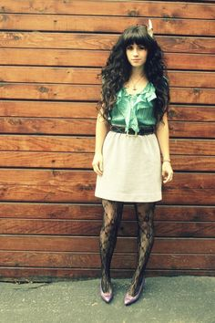 Long curly hair with fringe.... the look I'm aiming for.