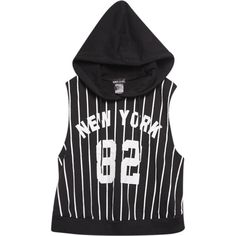 Sm Clothing Inc.  Sporty New York Sleeveless Hoodie ($23) ❤ liked on Polyvore featuring tops, hoodies, stripe hoodie, oversized hooded sweatshirt, striped top, wet seal and striped hoodie