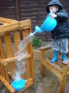 Wasserfall aus Plastikflaschen bauen
