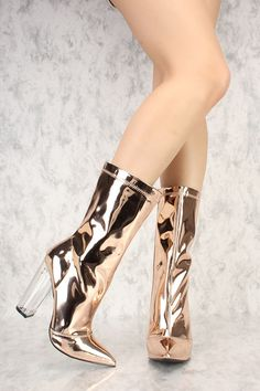 0d83308f6fb1 Sexy Rose Gold Pointy Toe AMI Clubwear PVC Thigh High Boots  Farrah Abraham  Inspired
