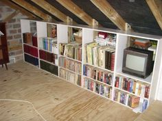 Beautiful Attic Storage Ideas | Garage Attic Bookshelves And Storage Cabinets