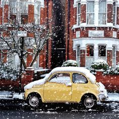 Fiat 500 - so cute but please stay warm for just a little longer!