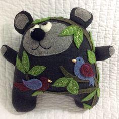 Plush wool bear - Aldo, bear in the woods - Salvage Rites -  Eco friendly bear plush, stuffed bear, woodland animal, rustic decor. by SalvageRitesNest on Etsy https://www.etsy.com/listing/256358907/plush-wool-bear-aldo-bear-in-the-woods