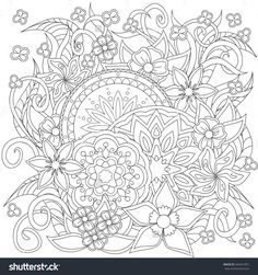 Hand Drawn Decorated Image With Doodle Flowers And Mandalas. Image For Adults Coloring Page. Vector Illustration - Eps 10. - 360441851 : Shutterstock