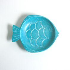 Haeger Fish Dish In Aqua