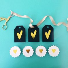 Gold foil heart gift tags | Smitten on Paper