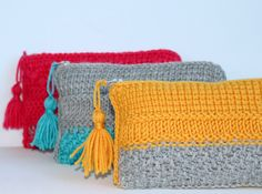Tunisian crochet clutch purse