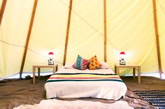 "S.F.'s Glamping Gurus Show Us How To Entertain Outside In Style! #refinery29  http://www.refinery29.com/glamping-essentials#slide6  A look at the indoor setup, which includes a comfy bed, classic Coleman lanterns, animal-skin rugs, and bold Pendleton blankies.     When you guys camp these days, do you glamp?  ""We fall somewhere in the middle of regular camping and glamping. I'm not one for sleeping on the floor or eating beans out of a tin can, but I also don't mind roughing it a little and…"