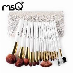 [ 30% OFF ] Msq 15Pcs Makeup Brushes  Nylon Hair Make Up Brush Beauty Cosmetic Brush Set With Delicate White Patterns Pu Case