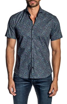 AngelSpace Mens Slim Fitted Floral Print Vogue Short Sleeve Classic T-Shirts