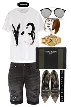 """""""Untitled #2256"""" by stylebyteajaye ❤ liked on Polyvore featuring Christian Dior, Urban Renewal, Y-3, Yves Saint Laurent, Rolex and Hermès"""