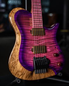 """Kiesel Guitars on Instagram: """"Would you rock this look? Zeus in trans pink center with purple burst. . . #kiesel #kieselguitars #zeus #858guitars"""" You Rock, Music Instruments, Guitar, Purple, Musical Instruments, Viola, Guitars"""
