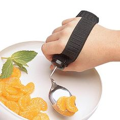 Goodie Strap features two loops that accommodates various handle sizes and has standard strap that fits all Good Grips utensils and other large or built-up handles. This expandable elastic Goodie Strap fits almost any size hand. The Pediatric strap fits handles with a circumference of approximately two and half inch to three inch and a length of at least three inch. It is machine wash and air dry. Elderly Products, Alzheimer Care, Alzheimers, Activities Of Daily Living, Adaptive Equipment, Spinal Cord Injury, Carpal Tunnel, Assistive Technology, Elderly Care