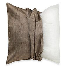 MYOP Raw Silk Square Throw Pillow Cover in Taupe
