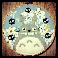Totoro and Flowers Hoop by ~iggystarpup on deviantART