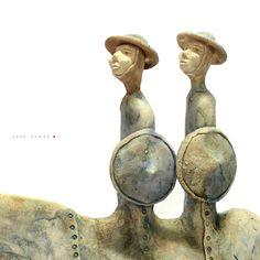 Two Knights/Ceramic Sculptures/Unique Ceramic Figurine/ unique home decor by arekszwed on Etsy