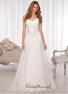 Alluring Tulle & Satin Sweetheart Neckline Natural Waistline A-line Wedding Dress
