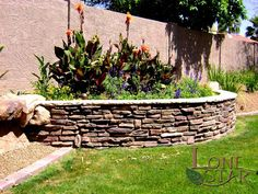 This retaining wall with stacked stone veneer is creating a colorful landscape planter in Carefree, AZ. - www.lonestaraz.com