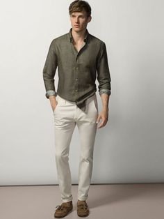 DENIM STRUCTURED TROUSERS - Trousers - MEN - Spain