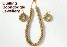Making Tutorial : Boondoggling pattern Paper Quilling Earrings & Necklace.