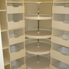 Lazy susan in the walk in closet dressing room, for shoes, purses etc. Great id… Lazy susan in the walk in closet dressing room, for shoes, purses etc. Master Closet, Closet Bedroom, Closet Space, Wardrobe Closet, Bathroom Closet, Deep Closet, Attic Closet, Bathroom Mirrors, Shoe Closet