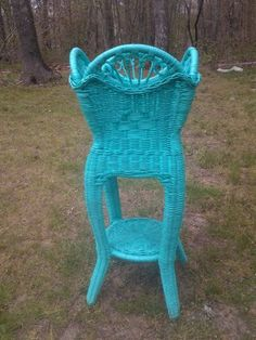 """Only in the Etsyverse is painting a lovely old wicker item a color that makes my eyeballs sweat considered """"upgrading"""".  Wicker is a perfect natural color for showing off the leaf colors of houseplants, unlike this paint job."""