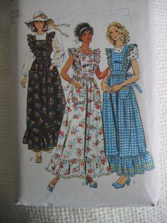 Vintage 70's Dress or Jumper & Blouse sewing pattern.   Boho, Hippie, Prairie Dress.  Simplicity.  Misses Size 14.   No.  6218.