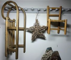 A sleigh, a wooden star and a child's chair all displayed Shaker-style on a wall rack - a lovely grouping from @sarahugheshome's shop in Marlow (www.sarahughes.co.uk). Showcased during #UpcycledHour Tuesday 8-9pm on Twitter.
