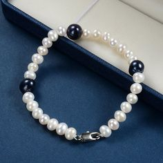 White and Black Freshwater Cultured Pearl Strand Bracelet Simple Beaded Jewelry for Women, Freshwater Pearl Bracelet, Pearl Jewelry, Beaded Jewelry, Pearl Bracelets, Pearl Necklaces, Strand Bracelet, Fresh Water, Dangles, Women Jewelry