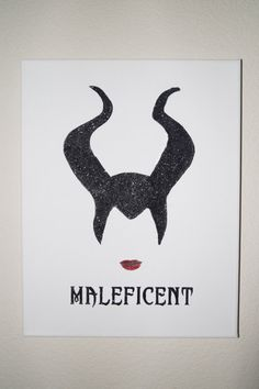 Disney Maleficent Black Glitter Silhouette by CCsArtBoutique