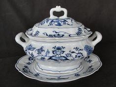 Blue Danube Porcelain Tureen w/ Under Plate Japan #BlueDanube