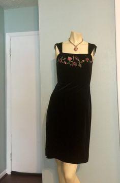 Betsey Johnson Evening Dress Black Velvet Flower by CraigOandAlice