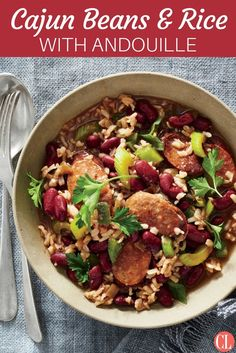 This easy, budget-friendly dish delivers classic Cajun flavor with a modern whole-grain (brown rice) twist. Whole-grain rice and red beans combine with spicy andouille sausage for a satisfying cheap m(Cajun Chicken Stew) Asopao Recipe, Healthy Grains, Healthy Eating, Healthy Food, Healthy Salads, Quinoa, Crockpot, Homemade Ham, Cooking Recipes