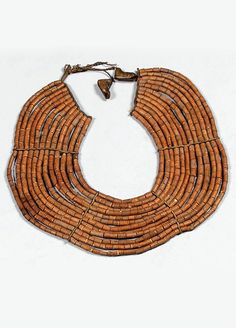Kenya | Neck collar from the Turkana people | Natural fiber beads, combined with a few glass beads and horn endings.  Ø 26 cm | Est. 800 - 1'000€ ~ (Dec '14)
