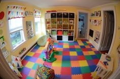 I like the idea of using the foam flooring, especially if play room is in a basement or where hardwood flooring is.