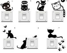 Cat Playing with Birds Sillhouette Vinyl Decal Sticker Light Switch Kids Nursery Simple Wall Paintings, Wall Painting Decor, Vinyl Wall Art, Vinyl Decals, Wall Decals, Wall Stickers, Cat Light, Cat Wall, Used Vinyl