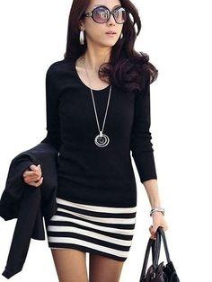 4d48bb9ebe53dc Easy Matching Round Neck Cotton Striped Bodycon-dress Mini Club Dresses
