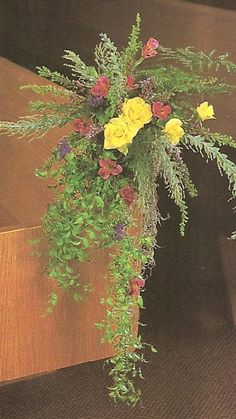 Browse tons of photo ideas for bouquets, centerpieces, church, reception & more. Alter Flowers, Church Flowers, Diy Flowers, Wedding Flowers, Flower Ideas, Wedding Stuff, Wedding Pews, Chapel Wedding, Wedding Chairs