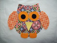 1 Chubby Fabric Iron On Owl Applique by PacificCoastie on Etsy