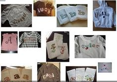 Applique t-shirt directions. Such a cute and easy gift. I love the monogrammed towels.