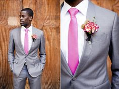 Hot pink tie with grey suit
