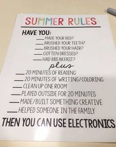 Parenting hacks! Keep summer fun and summer activities for the kids in check! This is such a SMART idea for kids during the summer to be sure they do the necessary stuff BEFORE getting on their phones and tablets.
