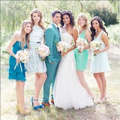 How beautiful are these #mismatched #bridesmaids dresses? I Brian LaBrada Photography I See more @WeddingWire