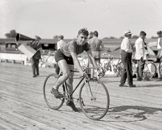 """July 18, 1925. Laurel, Maryland. """"R.J. O'Connor, inter-city championship bicycle races, Laurel Speedway."""""""