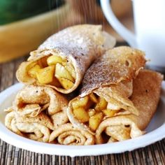 Apple cinnamon crepes recipe...and there's another recipe at this site for ricotta pear crepes that looks interesting too!